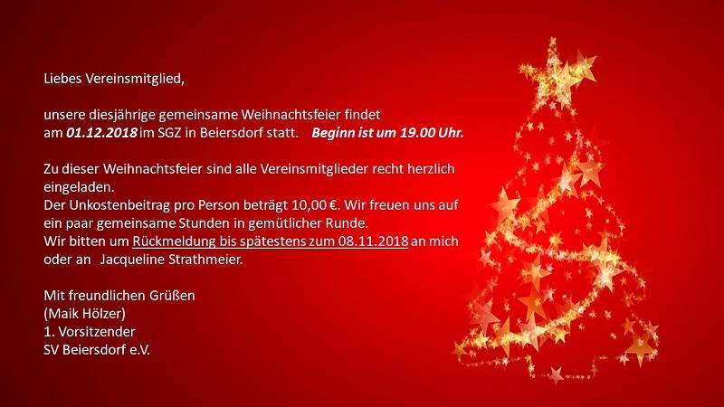 Einladung Zur Weihnachtsfeier.Sv Beiersdorf E V Fussballkreis Barnim Oberhavel